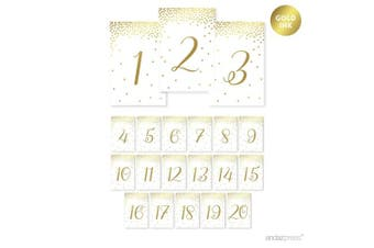 Andaz Press Metallic Gold Confetti Polka Dots Party Collection, Table Numbers 1-20, 10cm x 15cm , 1-Set