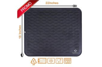 (XXL, Black) - Silicone Dish Drying Mat & Scrubber 50cm x 46cm | Heat Resistant Trivet & Extra Large Kitchen Dish Drainer Mats | Draining Pad for Counter (XXL Black)