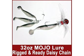 (Black/Red/White) - Blue Water Candy Rock Fish Candy 950ml Cannonball Mojo Striper Daisy Chain Lure, Loaded with 23cm Swimbait Shad Body & 7.6cm x 15cm Trailing Shads - Rigged & Ready