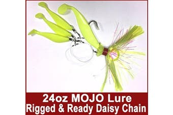 Blue Water Candy - Rock Fish Candy 710ml Cannonball (Chartreuse) Mojo Striper Daisy Chain Lure, Loaded with 23cm Swimbait Shad Body & 7.6cm x 15cm Trailing Shads - Rigged & Ready (Chartreuse)