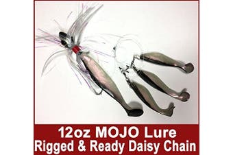 (Black) - Blue Water Candy Rock Fish Candy 350ml Spire Mojo Striper Daisy Chain Lure, Loaded with 23cm Swimbait Shad Body & 7.6cm x 15cm Trailing Shads - Rigged & Ready