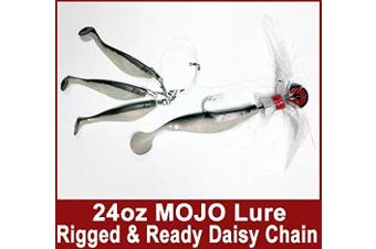 Blue Water Candy - Rock Fish Candy 710ml Cannonball (Black/Red/White) Mojo Striper Daisy Chain Lure, Loaded with 23cm Swimbait Shad Body & 7.6cm x 15cm Trailing Shads - Rigged & Ready (Black/Pearl)