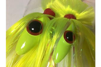 (Chartreuse) - Blue Water Candy - Rock Fish Candy 350ml & 240ml Mojo Lure Loaded with 23cm Swimbait Shad Bodies Tandem Parachute Rigged & Ready