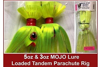 Blue Water Candy - Rock Fish Candy 150ml & 90ml Mojo Lure Loaded with 23cm Swimbait Shad Bodies Tandem Parachute Rigged & Ready (Chartreuse) - 60160-4