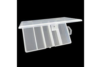 Honbay Clear Visible Plastic Fishing Tackle Accessory Box Fishing Lure Bait Hooks Storage Box Case Container Jewellery Making Findings Organiser Box Storage Container Case - 5 Compartments