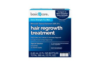 Basic Care Minoxidil Topical Solution USP, 5% Hair Regrowth Treatment for Men 350ml