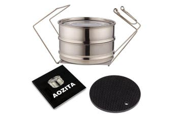 (5.7l) - Aozita Stackable Steamer Insert Pans with Sling for 5/6/7.6l Instant Pot Accessories - Stainless Steel Food Steamer for Pressure Cooker, Baking, Lasagna Pans, Upgrade Interchangeable Lids Included