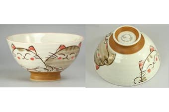 Japanese rice bowl set, ceramic, cute smiling cats design, set of 2 bowls