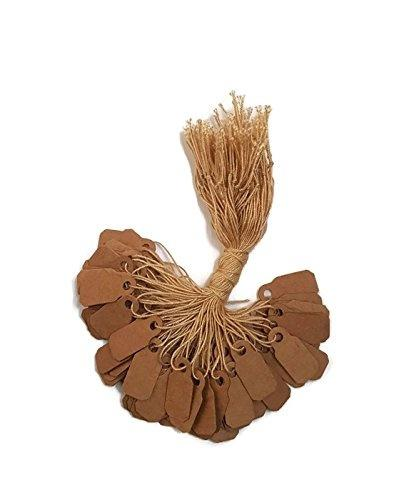 (100) - 100 pcs Kraft Paper Tags, Price Tags Jewellery, Gift Tags with String Size: 100 Great natural look labels! Perfect for gift tags, favour tags and price tags. High quality tags that can be used for any jewellery. Rings can be tried on without removing tag