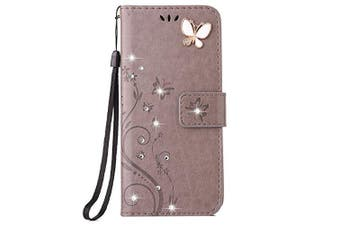 (Samsung galaxy Note 5, Gray) - Auroralove Samsung Galaxy Note 5 Luxury Handmade Bling Rhinestone Soft Slim Flip Stand Wallet Case for Samsung Note 5 Flower Butterfly PU Leather Case for Girls Women-Grey