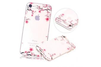 (Pink Floral) - iPhone 7 Plus Case, iPhone 7 Plus Clear Case,PHEZEN Pink Flower Floral Design Ultra Thin Anti-Scratch Flexible TPU Gel Rubber Soft Skin Silicone Protective Case Cover For iPhone 7 Plus 14cm