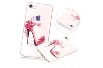 (Flower Highheel) - iPhone 7 Plus Case, iPhone 7 Plus Clear Case,PHEZEN Pink Flower Highheel Design Ultra Thin Anti-Scratch Flexible TPU Gel Rubber Soft Skin Silicone Protective Case Cover For iPhone 7 Plus 14cm