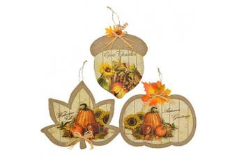 Harvest Festive Burlap Hanging Decor Signs ( One Random Vary Give Thanks ,Welcome Fall or Autumn Greetings)