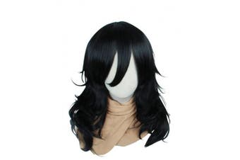 Cfalaicos 46cm Black Wave Cosplay Wig with with Free Wig Cap