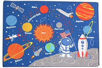(Galaxy Cartoon) - ABREEZE Modern Washable Blue Cartoon Rugs Boys Crawling Carpet Kids Learning Area Rug Play Rugs