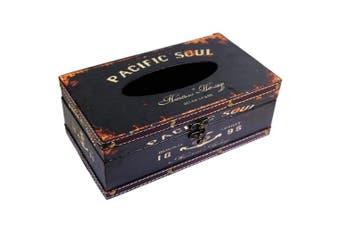 (Black Pacific Soul) - Retro Vintage Rustic Wood Tissue Holder Box Cover Facial Tissue Paper Dispenser Anchor Design Tissue Holder Home Decor(Black Pacific Soul)