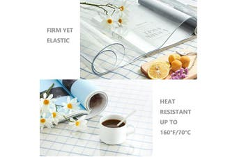 (60cm  x 90cm , 2.0mm Clear) - ETECHMART 24 x 36 Inches Clear PVC Table Top Protector, 2.0mm Thick Wipeable Waterproof Desk Pad, Heat Resistant Rectangular Table Cover for Dining Room Table
