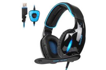 SADES 2017 New Version SA902 Blue 7.1 Channel Virtual USB Surround Stereo Wired PC Gaming Headset Over Ear earbuds with Microphone Revolution Volume Control Noise Cancelling LED Light (Black/Blue)