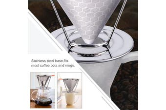 (2nd Generation) - E-PRANCE Honeycombed Stainless Steel Coffee Filter, Reusable Pour Over Coffee Filter Cone Coffee Dripper with Removable Cup Stand and Bonus Brush(2nd Generation)
