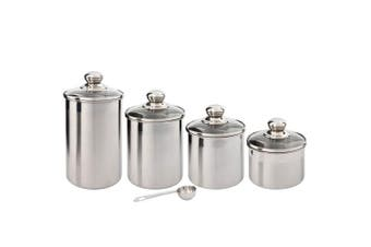 (4pc Glass Lids - Small Size) - Canister Set Stainless Steel - Beautiful Canisters for Kitchen Counter - 4-Piece Small Sized with Glass Lids and 20 ml Measuring Scoop - Tea Coffee Sugar Canisters by SilverOnyx - 4pc Glass Lids