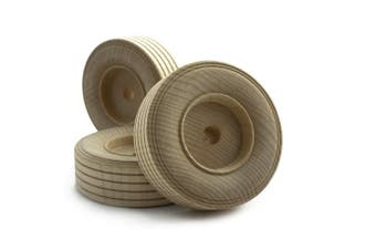 """(Bag of 4) - 7.6cm inch Treaded Wooden Toy Wheel at 1"""" inch thick with a 3/8"""" inch Hole - Bag of 4"""