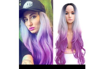 (ombre black gray and purple) - AISI HAIR Purple Ombre Wig for Women Long Wavy Ombre Wig Middle Part Synthetic Wig Heat Resistant Dark Roots Three Tone Women Natural Hair Wigs …
