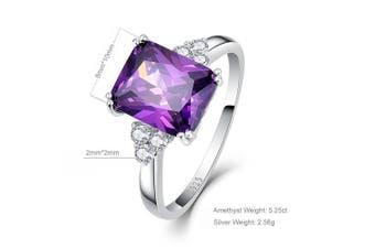 (Q) - Bonlavie 5.25Ct 8X10mm Purple Amethyst 925 Sterling Silver Promise Engagement Wedding Ring