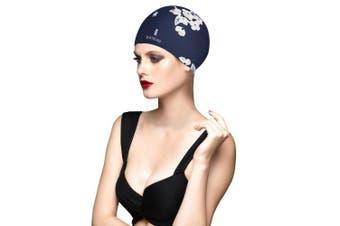 (Dark Blue) - BALNEAIRE Silicone Long Hair Swim Cap for Women ,Waterproof UV Blocked Hand Painted Flower Swim Cap