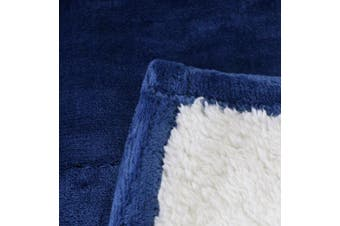 (Throw, Navy Blue) - Sherpa Flannel Fleece reversible blankets (Throw)- Navy- Extra Soft Brush Fabric, Super Warm Bed Blanket, Lightweight cosy couch Blanket, Easy Care - by Utopia Bedding