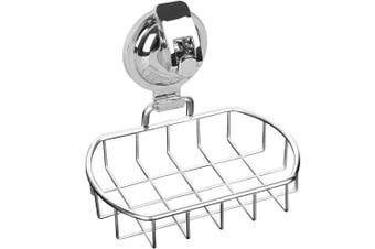 (Silver) - Anwenk Soap Dish Stainless Steel Vacuum Suction Cup Soap Dish Powerful Soap Saver Dish Soap Tray Soap Holder for Shower Bathroom & Kitchen