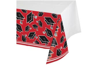 (Classic Red) - School Spirit Red Plastic Tablecloth