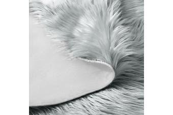 (0.9m-diameter, Grey) - LEEVAN Plush Sheepskin Style Throw Rug Faux Fur Elegant Chic Style Cosy Shaggy Round Rug Floor Mat Area Rugs Home Decorator Super soft Carpets Kids Play Rug, Grey 0.9m Diameter