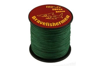 (100M, 20LB) - Bravefishermen Super Strong PE Braided Fishing Line Dark Green