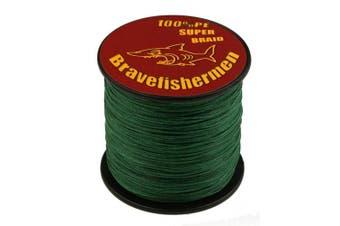 (100M, 40LB) - Bravefishermen Super Strong PE Braided Fishing Line Dark Green