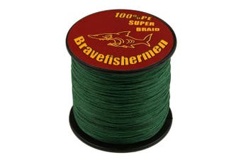 (100M, 60LB) - Bravefishermen Super Strong PE Braided Fishing Line Dark Green