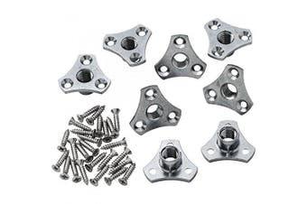 (4) - 0.8cm -18 Screw On Flat Mounting T-Nut Plates Bolt Thread Inserts [Type J] (4)