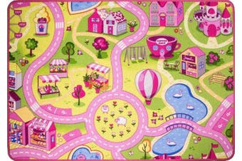 Funfair Pink Colourful Kids Town City Roads Childrens Floor Play Area Rug Mat