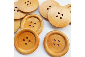 "Chenkou Craft 20pcs Big Size 50mm 2"" Round Wood Buttons 4 Holes Craft Sewing Button"