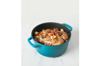 (4.7l, Round, Teal) - Crock Pot 79565.02 Edmound Cast Aluminium Dutch Oven with Lid, 4.7l, Gradient Teal