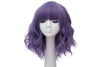 (Pale Purple Brow-Skimming Bangs) - Alacos Fashion 35cm Short Curly Bob Anime Cosplay Wig Daily Party Christmas Halloween Synthetic Heat Resistant Wig for Women +Free Wig Cap (Pale Purple Brow-Skimming Bangs)