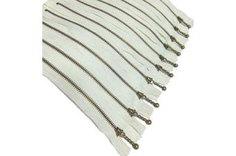 (Ivory/10 pcs) - Metal Zippers 10 pcs - #3 Antique Brass Close-end, 12 Inch/30cm, Ivory - by Beaulegan