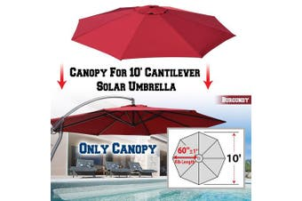 (Burgundy) - BenefitUSA Replacement Umbrella Canopy for 3m 8 ribs (Canopy Only) (Burgundy)