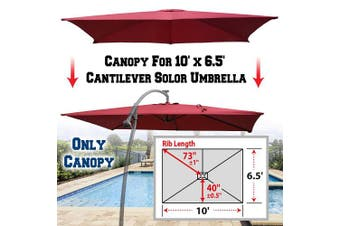 (Burgundy) - BenefitUSA Replacement Canopy Cover for 3m X 2m Cantilever Patio Umbrella Offest Parasol Top Replacement (Burgundy)
