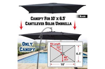 (Black) - BenefitUSA Replacement Canopy Cover for 3m X 2m Cantilever Patio Umbrella Offest Parasol Top Replacement (Black)