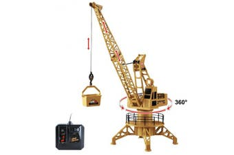 Wire Control RC Crane Lift Tower 4CH Engineer Construction Vehicle Toy Playset - 360 Degree Rotate
