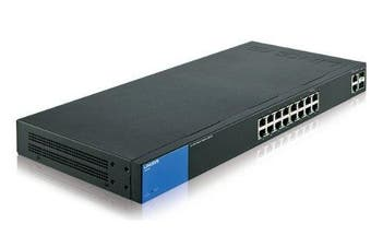 (18 Port, Web Managed Switch) - Linksys LGS318 Business 16 Port Gigabit Smart Managed Network Switch with 2 x Combo SFP Ports