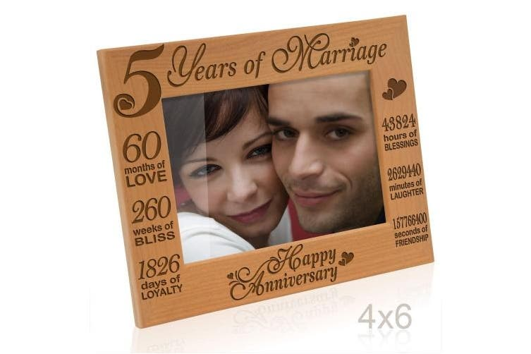 4x6 Horizontal Happy Anniversary Kate Posh 5 Years Of Marriage Photo Frame Happy 5th Anniversary Gift Wood Engraved Natural Solid Wood Picture Frame 4x6 Horizontal Kogan Com