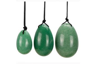 (Green Aventurine) - TOP-VRA Jade Egg Yoni Egg Massage Stone 3PCS Natural Exercise Eggs Healing Stone To Train Pelvic Muscles Kegel Exercise- Rose Quartz / Black Obsidian /Green Aventurine/Rock Crystal