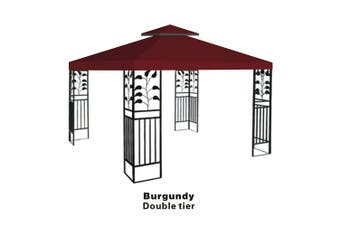 (BURGUNDY) - Replacement 3mX3mgazebo canopy top patio pavilion cover sunshade plyester double tiers-BURGUNDY
