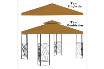 (TAN) - Replacement 3mX3mgazebo canopy top patio pavilion cover sunshade plyester double tiers-TAN